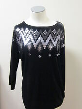 Bob Mackie's Sequin Spangle Stretch Velvet 3/4 Sleeve Pullover Top Black NWT