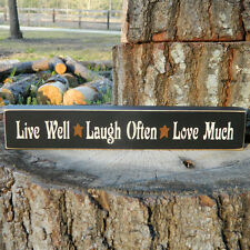 'Live Well * Laugh Often * Love Much'  Wooden Sign  -  21 Colors To Choose From!