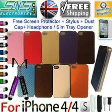 Hard Back Carbon Fibre non Chrome Case for iPhone 4 4G 4S Free Stylus Gifts P&P