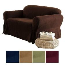 2-PC Soft Micro Suede Couch Sofa Loveseat Slip cover Brown Black Beige Sage New