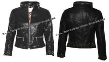 F33 WOMENS LADIES FAUX LEATHER PVC BOMBER BIKER STUDDED CROPPED JACKET ZIP COAT.