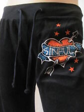 New SINFUL Affliction Womens Black Velour Superfly Track Sweat Lounge Pants $68