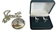 ROYAL SIGNALS JIMMY CREST ENGRAVED POCKET WATCH & CUFF LINK SET, GOLD OR SILVER