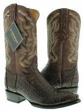 Mens brown genuine crocodile alligator head cut western cowboy boots round toe