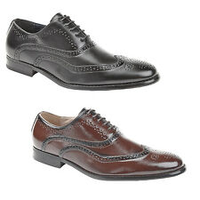 NEW GOOR MENS OXFORD BROGUE LACE UP SHOES BOOTS BLACK BROWN LEATHER LINING UK