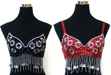 New Sexy Beautiful Special Beaded Sequin Belly Dance Bra with Beaded Dangling