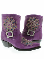 WOMEN'S LADIES PURPLE SHORT LEATHER ANKLE COWBOY BOOTS WESTERN RODEO RHINESTONES