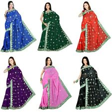NEW Bollywood Party wear Fancy Sequin Embroidery work Sari Saree Fabric Wrap Top