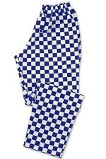 CHEF TROUSERS CHEF WHITES ROYAL BLUE AND WHITE CHECK CHEF PANTS UNIFORM UNISEX