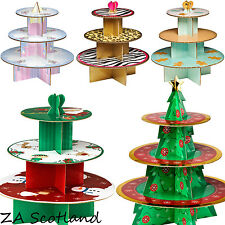 CUP & FAIRY CAKE STAND 3 TIER CARDBOARD BIRTHDAY PARTYWARE PARTY TABLEWARE