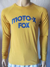 New FOX Mens Yellow Moto-X Vintage Hall of Fame L/S Knit Crew Tee Shirt Top $39