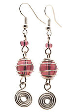 Beautiful Silver Color Glass Bead Dangling Handmade FairTrade Earrings Africa