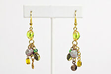 Maisha Beautiful Plum ,Green & Gold Color Handmade FairTrade Earrings African