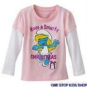 SMURFETTE Toddler Girls 2T 3T 4T Christmas HOLIDAY SHIRT Tee Top THE SMURFS
