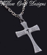 UNISEX MANS STAINLESS STEEL RELIGIOUS CHRISTIAN CROSS PENDANT NECKLACE & CHAIN