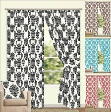 Lined Flock Faux Silk Regency Design Curtains + Tie Backs - 12 Sizes & 4 Colours
