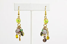 Maisha Beautiful Plum,Green & Gold Color Handmade FairTrade Earrings African