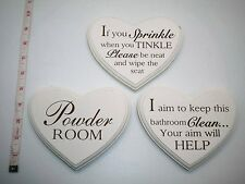 Vintage Retro Shabby Chic Wooden Wall Hanging Heart Bathroom Loo Plaque Sign