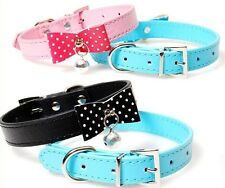 4 Colors PU Leather Dog Collars Cat Ring Bell Puppy Small Pet Dog Cat Collars