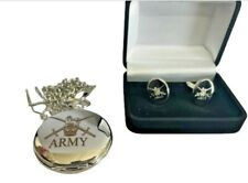 ARMY CREST ENGRAVED POCKET WATCH & CUFF LINK SET, GOLD OR SILVER