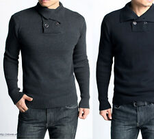 Mens Shawl Collar Sweater Solid Knit Top Jumper Pullover Gangnam Style Fitted