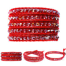 4 size  Wrap Handmake Red Crystal  Glass Beads Bangle Wrap Leather Bracelet