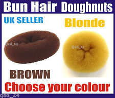 BROWN / BLONDE BUN HAIR DOUGHNUT SHAPER RING STYLER HAIRDRESSING DONUT S M L