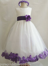 IVORY/PURPLE LAPIS BABY TODDLER WEDDING PARTY DANCING BIRTHDAY FLOWER GIRL DRESS