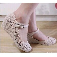 Fashion Lady Soft Jelly Rubber Flowers Round Toe Wedge Heel Sandal Shoes SH7