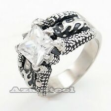 EXCLUSIVE MENS Dragon Claw CZ 316L Stainless Steel Biker Ring Size10,11,12,13,14