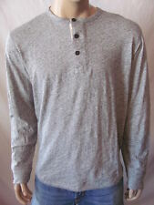 New LUCKY BRAND Mens Grey L/S Casual Jaspe Henley Knit Shirt Top $54