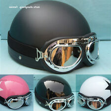 Brand DOT CLASSIC Motorcycle Open Face Half Helmet & Visor Goggles Vintage Retro