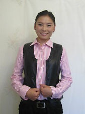 KGKATE BLACK LEATHER VEST:NEW:REVERSIBLE, WITH SILK BROCADE (scroll for details)