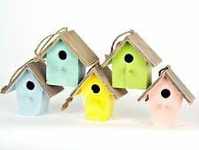 mini bird house pink blues green yellow decorative garden ornament fun outdoor