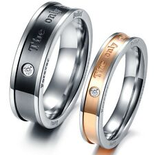 Fashion 1 Pair Couple Rings THE ONLY ETERNAL LOVE Crystal Promise Bands Gift 353