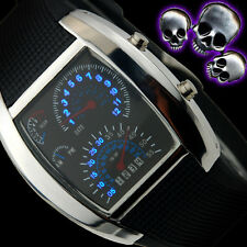 RPM Turbo Blue & White Flash LED Watch BRAND Gift Sports Car Meter Dial Men DUO