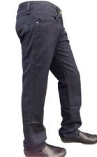 Mens Indigo Blue Jeans Denim Straight Stretch Casual Pants Fashion