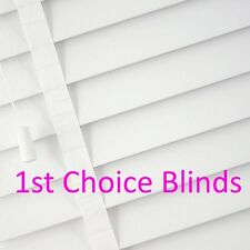SUPERIOR MADE TO MEASURE WOODEN VENETIAN WINDOW BLIND WHITE WITH TAPES REAL WOOD