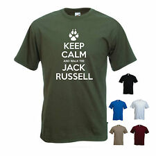 'Keep Calm and Walk the Jack Russell' Mens funny Pet Dog Gift T-shirt.