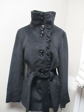 Steve Madden Ruffle Front Belted Short Trench Coat Black NWT