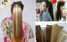 12 Color*Party Drama Long(Straight) Clip Ponytail Hair Extension*Wrap Around Tie
