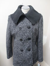 Steve Madden Double Breasted Boucle Knit Oversized Collar Peacoat Charcoal NWT