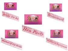 Hen Night Party Sashes - Bride to Be,  Bridesmaid,  Mother of the Bride & Groom