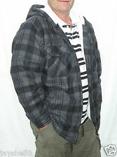 MENS CHECK JERSEY HOODED, ZIP UP FULLY FLEECED LUMBER JACKET-SWEATSHIRT S,M,L,XL