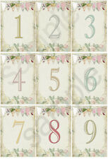VINTAGE SUMMER TEA PARTY WEDDING TABLE NUMBERS -2 Sizes available (DOUBLE SIDED)
