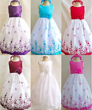 WHITE IVORY RED PURPLE PINK WINE BLACK PARTY FLOWER GIRL DRESS 18M 2 4 6 8 10 12