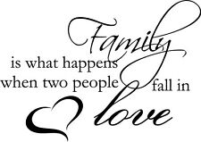 Family two people fall In Love Decor vinyl wall decal quote sticker Inspiration