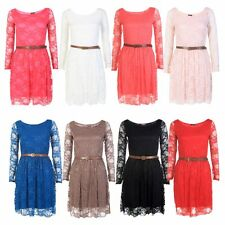 LADIES BELTED LONG SLEEVE LACE SHIFT WOMENS SKATER DRESS SIZE 8-14