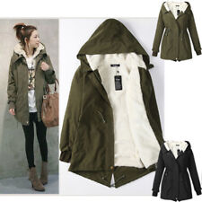 Womens Warm Fleece Winter Coat Zip Up Hooded Parka Overcoat Long Ladies Jacket