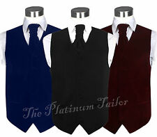 Mens Classic Velvet Waistcoat With Ascot Tie Formal Quality Vest Weddings 36-58